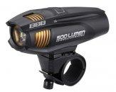 """BBB BLS-71 kerékpáros világítás """"Strike"""" első lámpa, 300 lumen LED fekete tölthető lithium ionos 2300 mAh akkuval"""