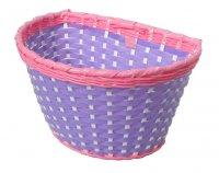 TW első, gyermekbiciklire, rózsaszín/lila, fonott műanyag, szalag rögzítéssel